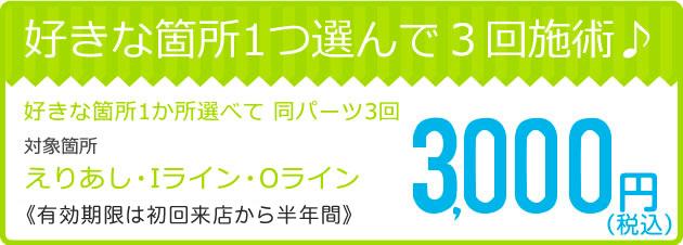 好きな箇所1つ選んで3回施術(えりあし・Iライン・Oライン)3,000円キャンペーン