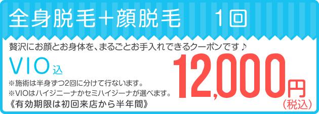 全身脱毛+顔脱毛1回12,000円キャンペーン