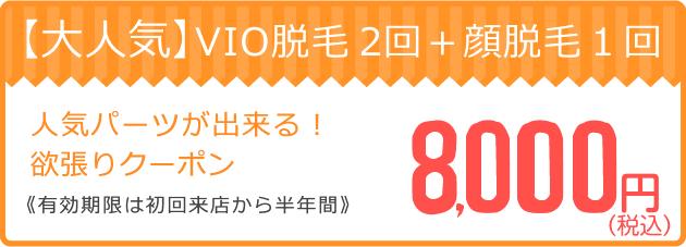 VIO脱毛2回+顔脱毛1回8,000円