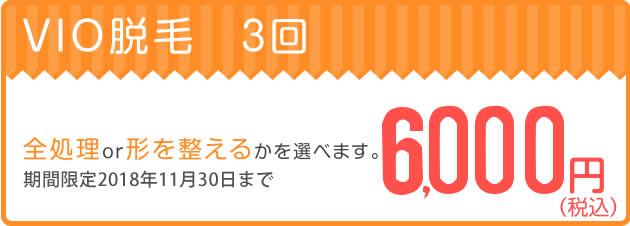 VIO脱毛3回6,000円キャンペーン